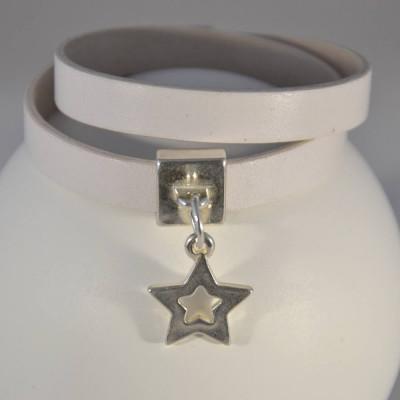 Bracelet cuir aimant breloque etoile