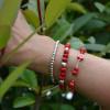 bracelet en perles de verre et plaqué argent