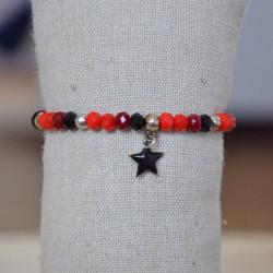 bracelet en perles de verre facettées et plaqué argent