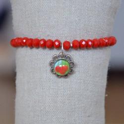 bracelet en perles de verre facettées et plaqué argent.