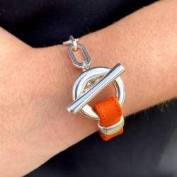 Bracelet en cuir plat souple avec fermoir Toggle et chaine