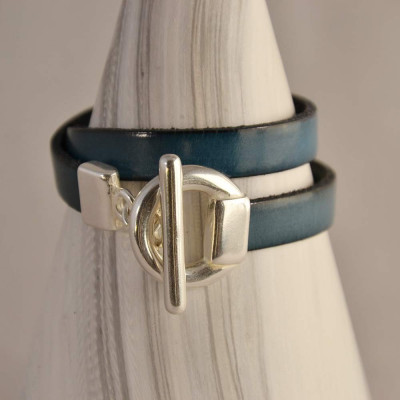 BRACELET CUIR DOUBLE TOGGLE ROND