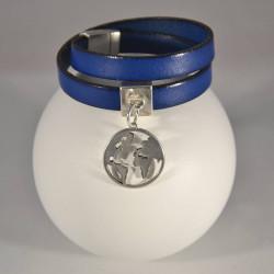 Bracelet cuir aimant breloque mappemonde